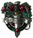 He Who Dares Dagger and Roses Belt Buckle with display stand. Code BL3